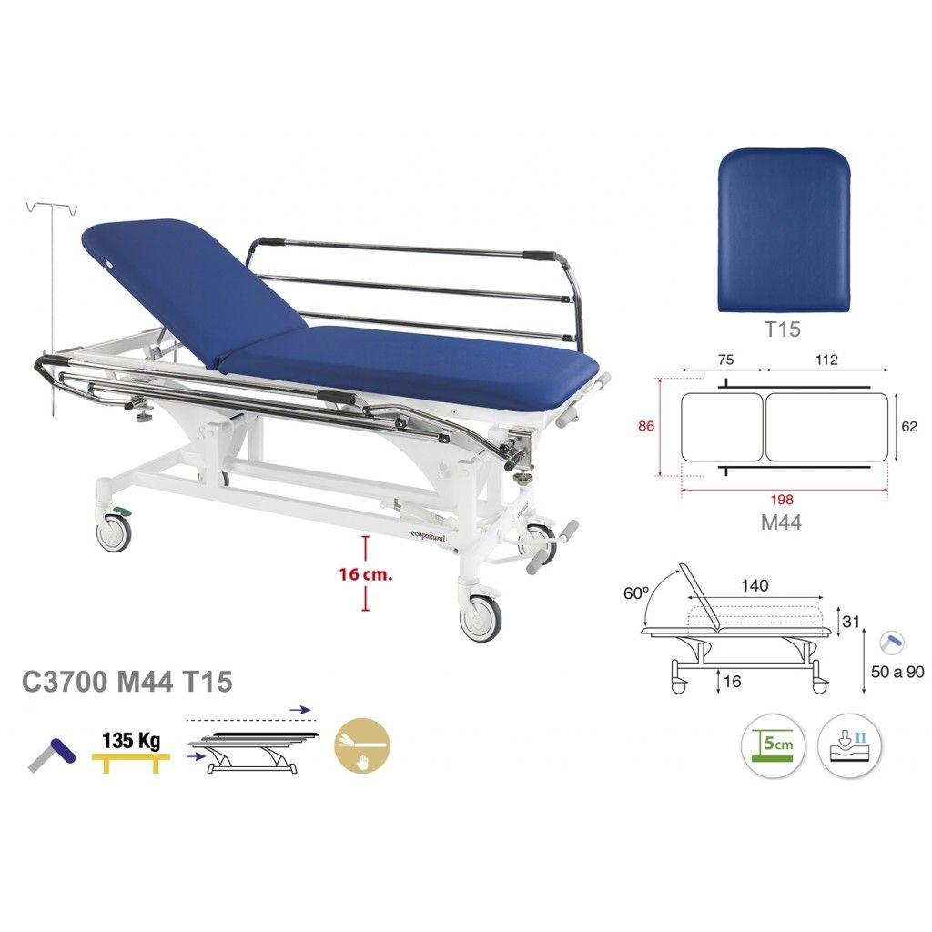 Camilla hidráulica para el transporte de pacientes