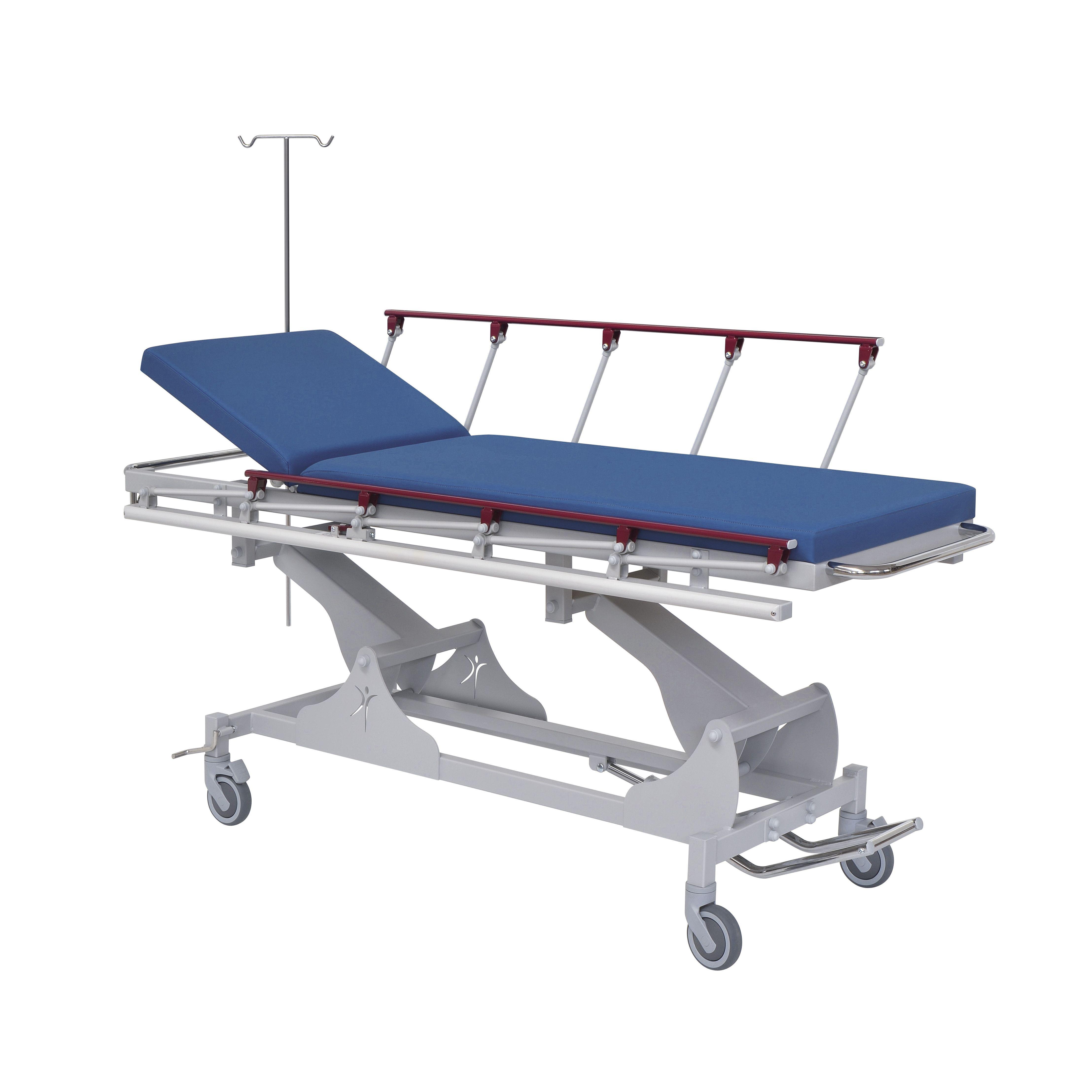 Carro camilla de urgencias con altura variable y barandilla plegable