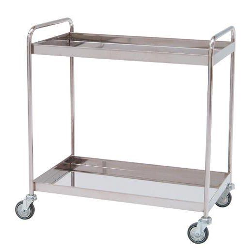 Carro para distribución con 2 estantes con reborde de 5 cm