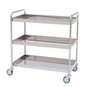 Carro para distribución con 3 estantes con reborde de 5 cm
