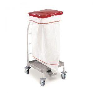 Carro para ropa sucia con tapa y pedal, 1 saco de 70 litros