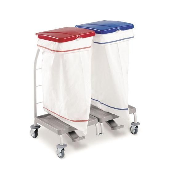 Carro para ropa sucia con tapa y pedal, 2 sacos de 70 litros