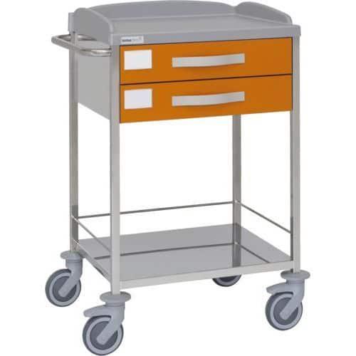 Carro hospitalario multifuncional con 2 cajones superiores y entrepaño inferior