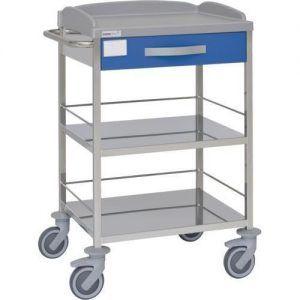 Carro hospitalario multifuncional con 1 cajón y 3 entrepaños