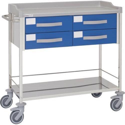 Carro hospitalario multifuncional con 4 cajones y entrepaño inferior
