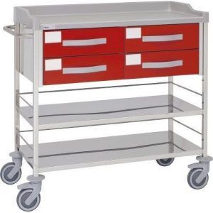 Carro hospitalario multifuncional con 4 cajones y entrepaños