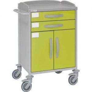 Carro hospitalario multifuncional con 2 cajones y armario inferior con puertas