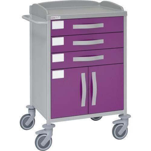 Carro hospitalario multifuncional con 3 cajones y armario inferior con puertas