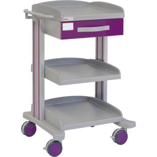 Carro hospitalario multifuncional con 1 cajón superior y 2 bandejas inferiores