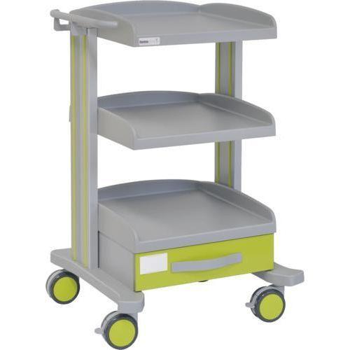 Carro hospitalario multifuncional con 1 cajón inferior y 2 bandejas inferiores